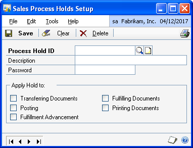 PART 1 SETUP For more information about using process holds, see Assigning process holds to a document on page 187. You can set up passwords to further restrict processing.