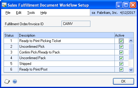 PART 1 SETUP Status Action to advance to the next tracked status 3 Print a packing slip for the fulfillment order in the Sales Transaction Entry window, the Sales Order Fulfillment window, the Print