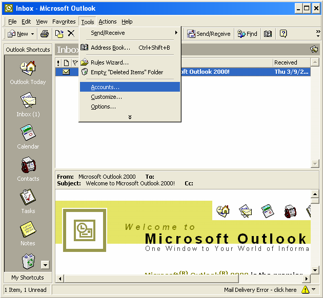 How to Setup your E-mail Account - Outlook 2000 This document will show you how to configure Outlook 2000 to be able to send and receive your e-mail.