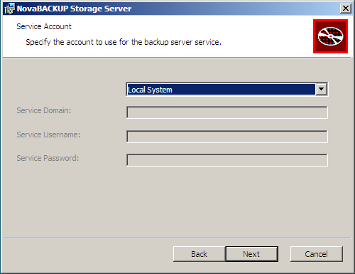 On the Service Account screen, you will choose which credentials to use for the Remote Manager Service.