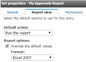 Set Default Options for Favorite Reports 1. Open the properties/attributes of the Report View by clicking on the Properties icon under Actions.