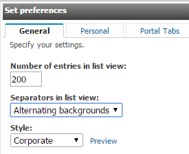 Navigate and Set Preferences in Cognos Basic Navigation Elements Refresh Page My Area Options Search tool Page Scroll Set Number of Entries in List View The default number of entries on a page is 15.