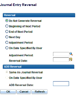 to automatically reverse (such as an accrual). You must choose the date of the reversing entry by selecting the appropriate option below.