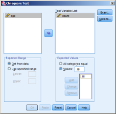 5. Select the variable with the observed frequencies as the Test Variable In the xpected Values box, select Values: 6.