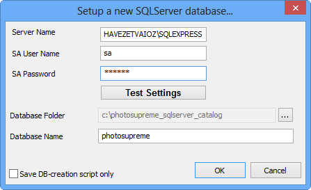 16 Installation Manual SQL Server 2012 Photo Supreme 1. Enter the SQLServer System Administrator (sa) password. This is the password that you ve entered during the installation process.