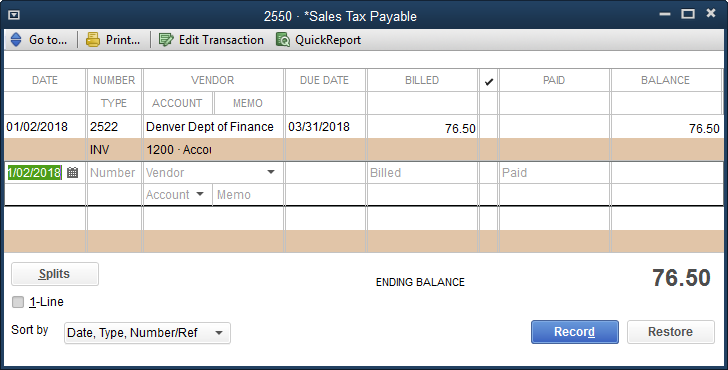 ADJUSTING SALES TAX PAYABLE BALANCE Adjusting Sales Tax Payable Balance If you followed the instructions in the previous section to record open invoices that include sales tax, then those invoices