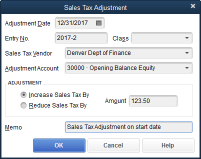 NOTE If you owe taxes to more than one tax agency, repeat the steps in this list to create a sales tax adjustment for each one. ADJUSTING INVENTORY 4. In the Amount box, fill in the adjustment amount.