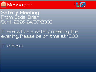 MESSAGES The Vodafone Field Manager application is able to receive messages that are sent by your dispatcher.