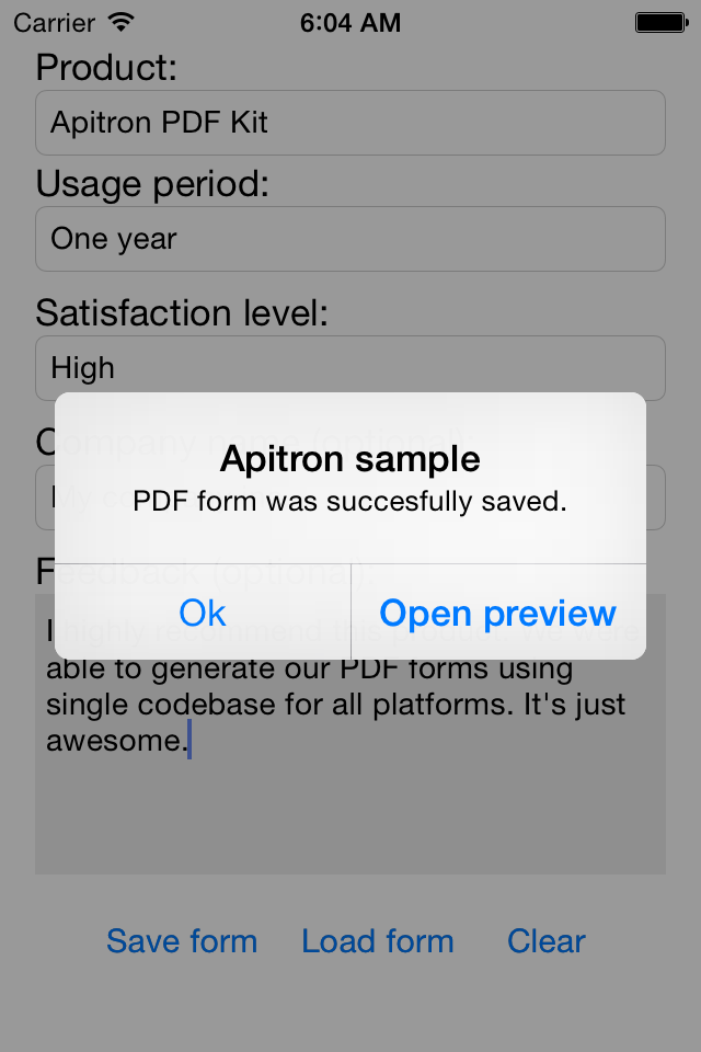 Create PDF Forms in ios applications using Xamarin PDF library by