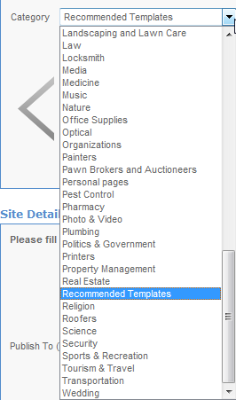 EasySiteWizard Professional 8.7 Chapter 3 14 Narrow the displayed designs by selecting a category form the list.