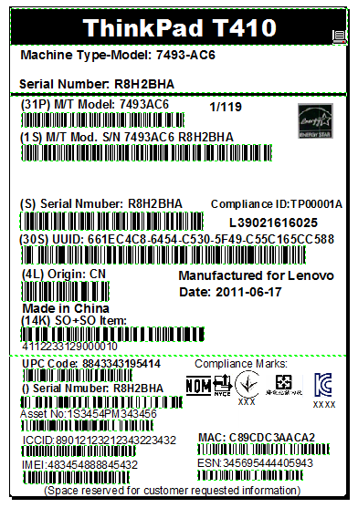LENOVO Product Labeling Guide Product Package Labels