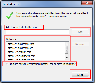 6. In the Select a zone to view or change security settings section, click Trusted sites The Trusted sites section appears. In the Trusted sites section, click Sites.