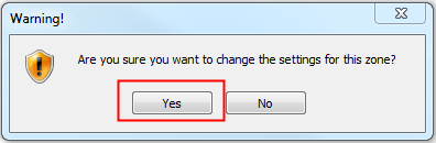Find the Enable XSS filter setting and set the value to Disable. In the Reset custom settings section, select Low from the Reset to drop-down. Click Reset. A warning message appears. Click Yes.