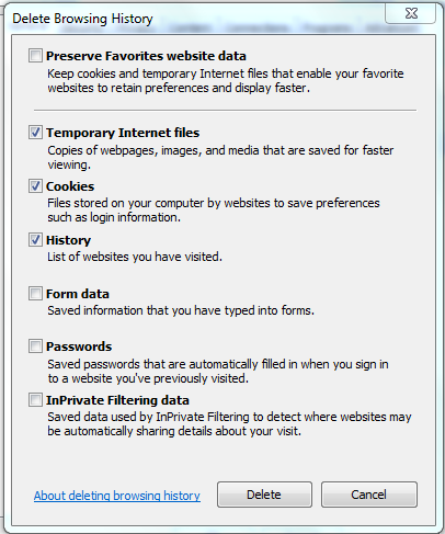 3. On the General tab, in the Browsing history section, click Delete. Windows displays the Delete Browsing History dialog box (below). 4. Deselect the Preserve Favorites website data checkbox.
