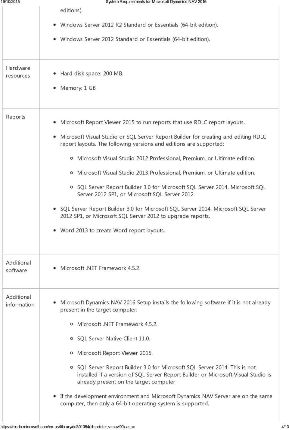 System Requirements for Microsoft Dynamics NAV PDF
