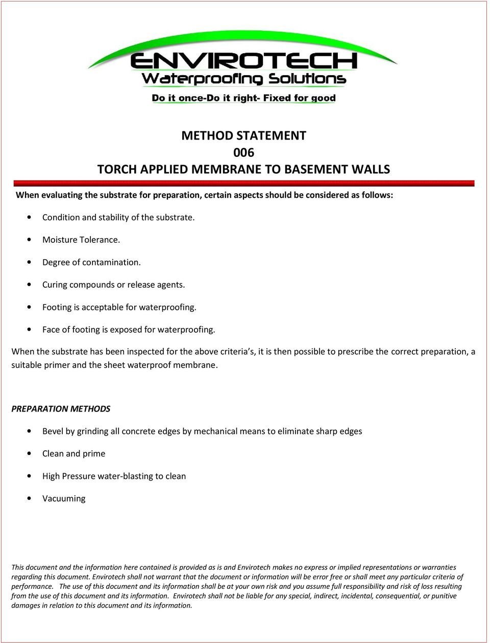 METHOD STATEMENT 006 TORCH APPLIED MEMBRANE TO BASEMENT WALLS - PDF