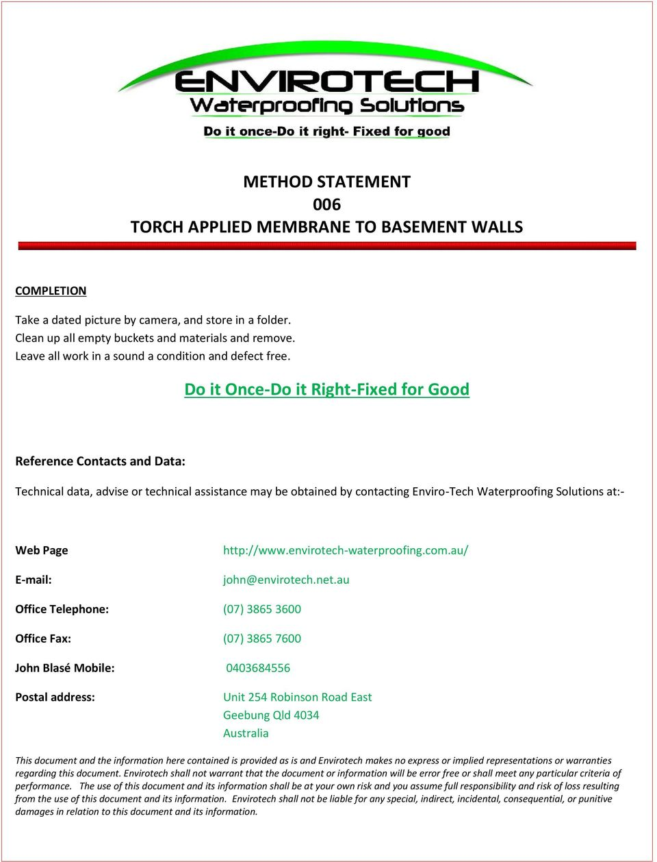 Method statement 006 torch applied membrane to basement walls pdf do it once do it right fixed for good reference contacts and data yelopaper Image collections