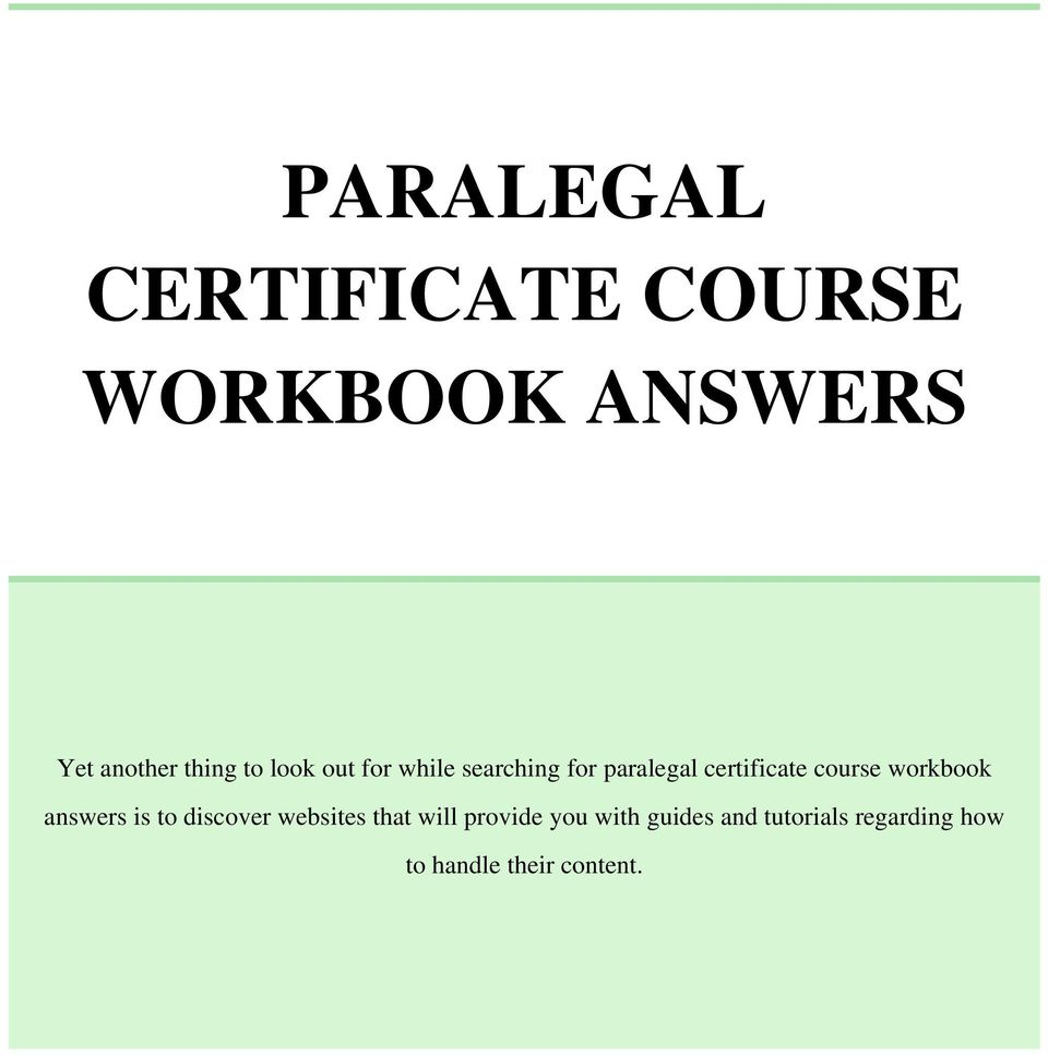 Paralegal Certificate Course Workbook Answers Pdf