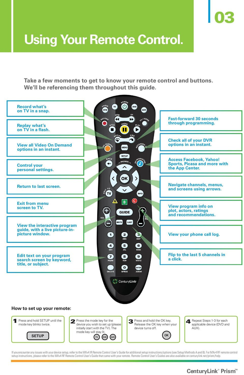 centurylink prism tv quick user guide please keep this handy for rh docplayer net Spanish TV Guide centurylink tv channel list
