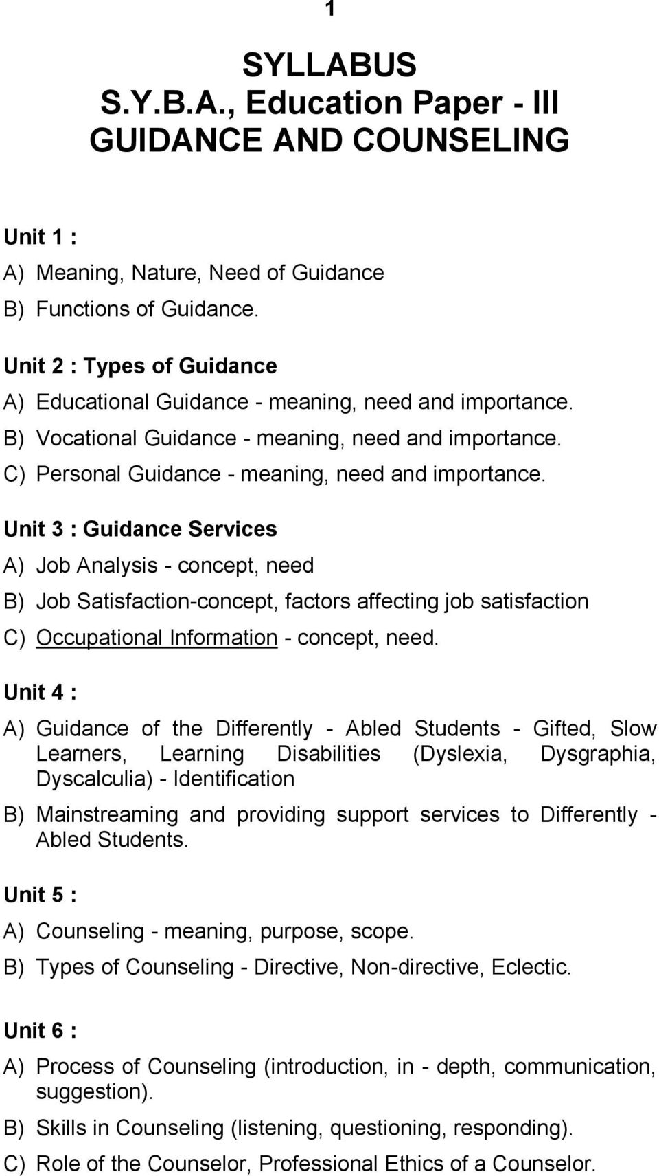 Syllabus Syba Education Paper Iii Guidance And Counseling Pdf