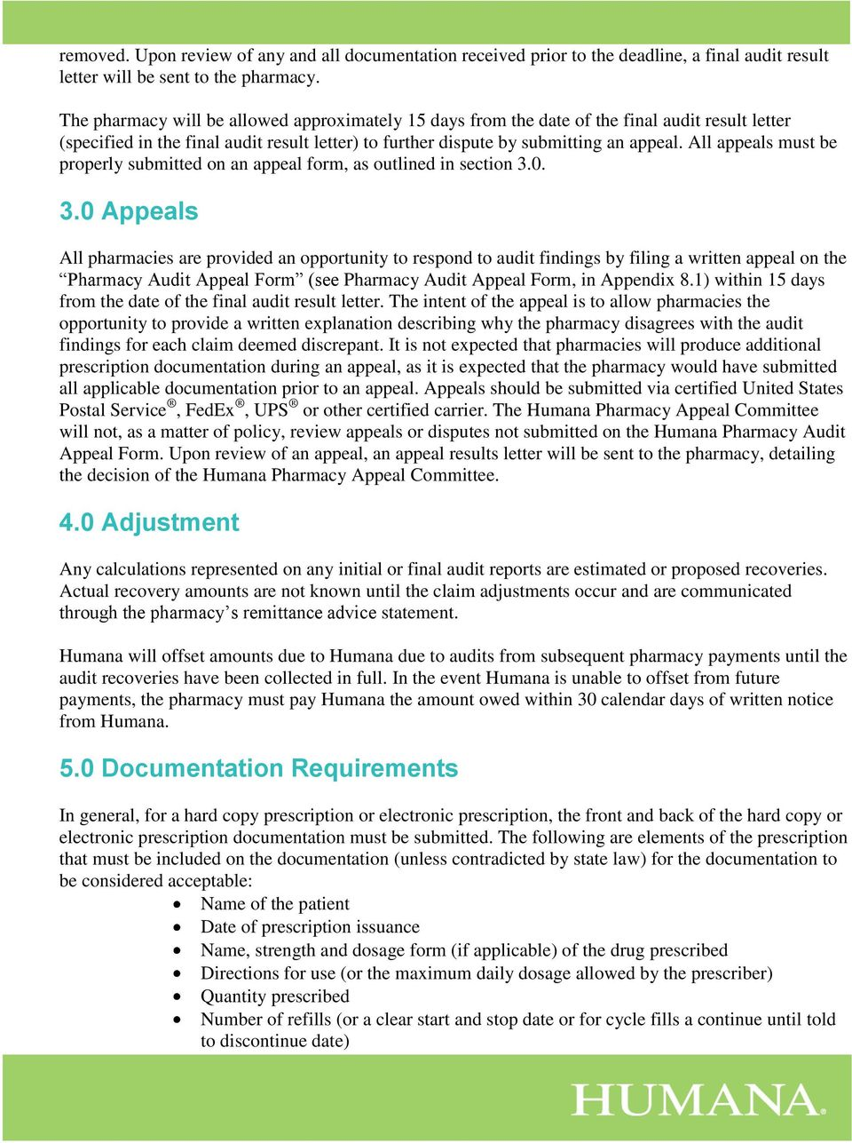 Humana Pharmacy Solutions Audit Guide - PDF