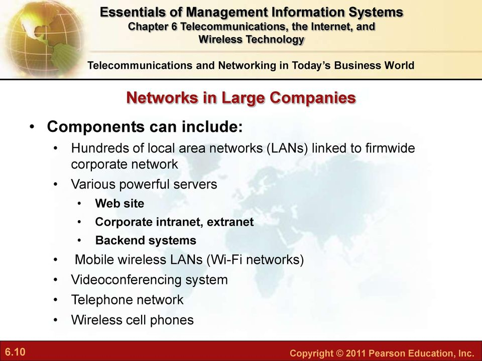 servers Web site Corporate intranet, extranet Backend systems Mobile wireless LANs (Wi-Fi networks)