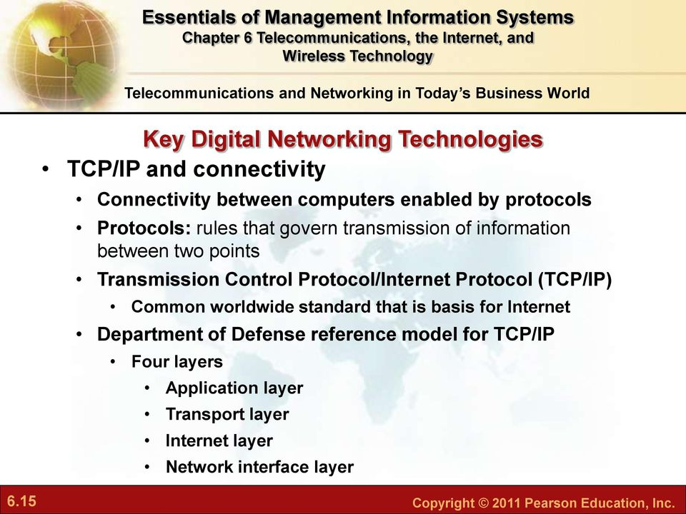 Control Protocol/Internet Protocol (TCP/IP) Common worldwide standard that is basis for Internet Department of Defense reference
