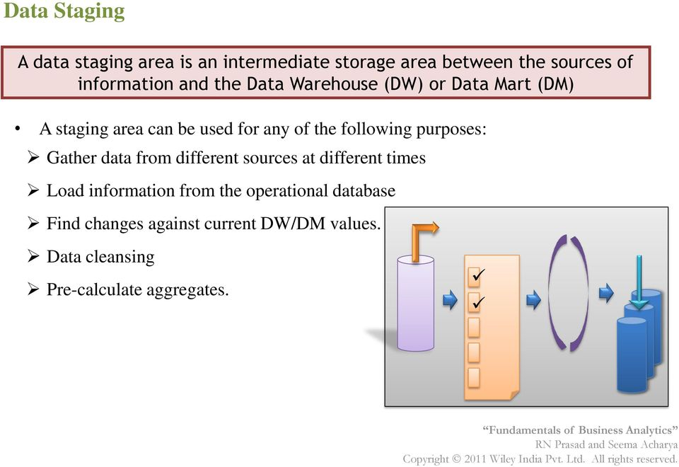 the following purposes: Gather data from different sources at different times Load information