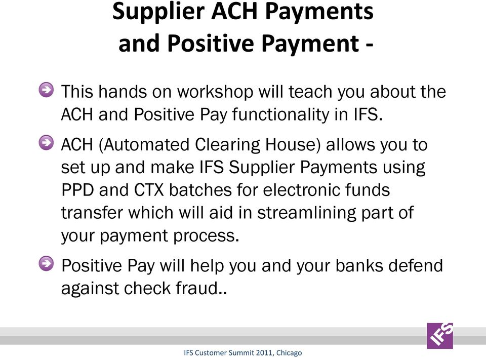Financial ACH and Positive Payment - - PDF
