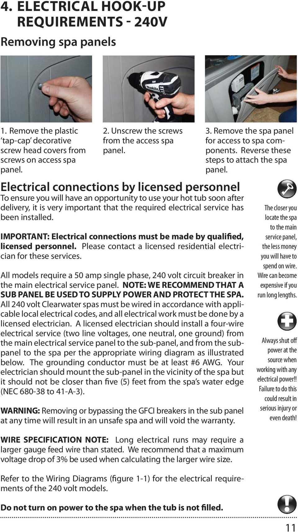 Clearwater Spas Spa Manual Resort Series Beachcraft Xs Wiring Diagram 50 Amp Gfci Breaker Important Electrical Connections Must Be Made By Qualified Licensed Personnel Please