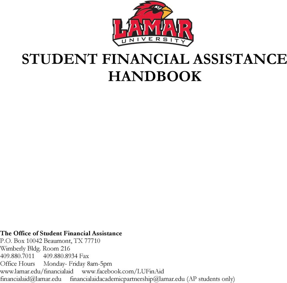 edu/financialaid www.facebook.com/lufinaid financialaid@lamar.