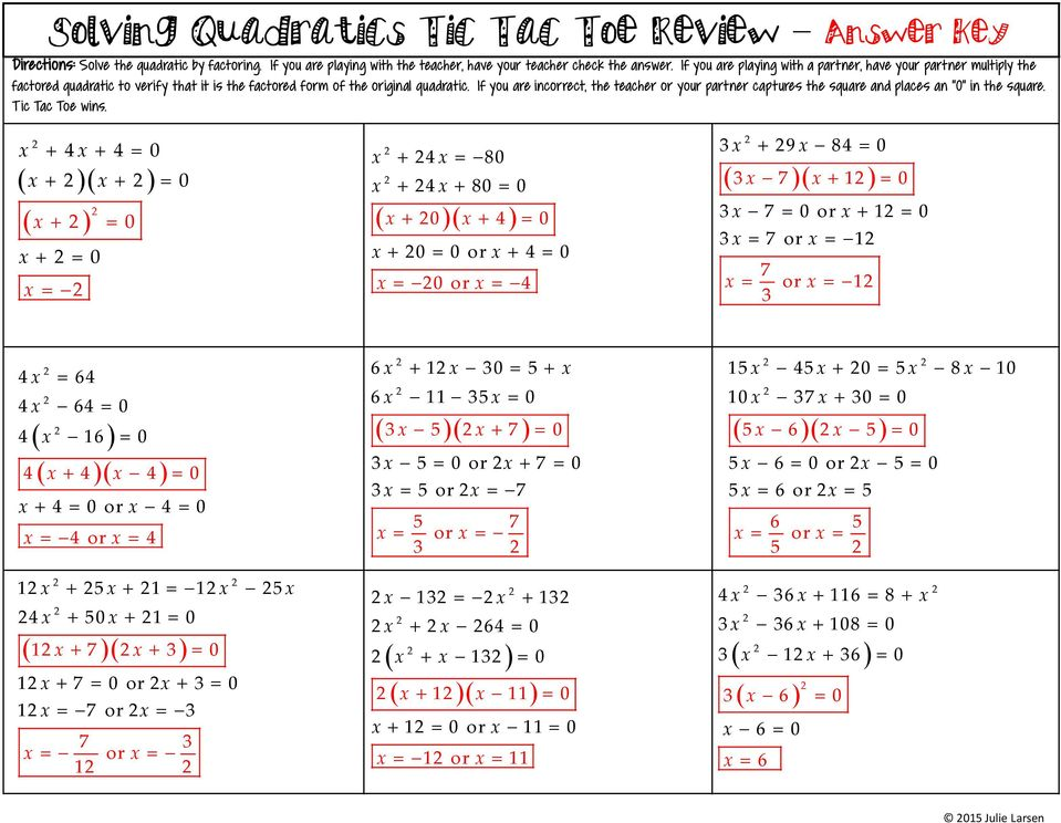 photo regarding Factoring Polynomials Games Printable referred to as Tic Tac Toe Evaluation or Companion Sport - PDF