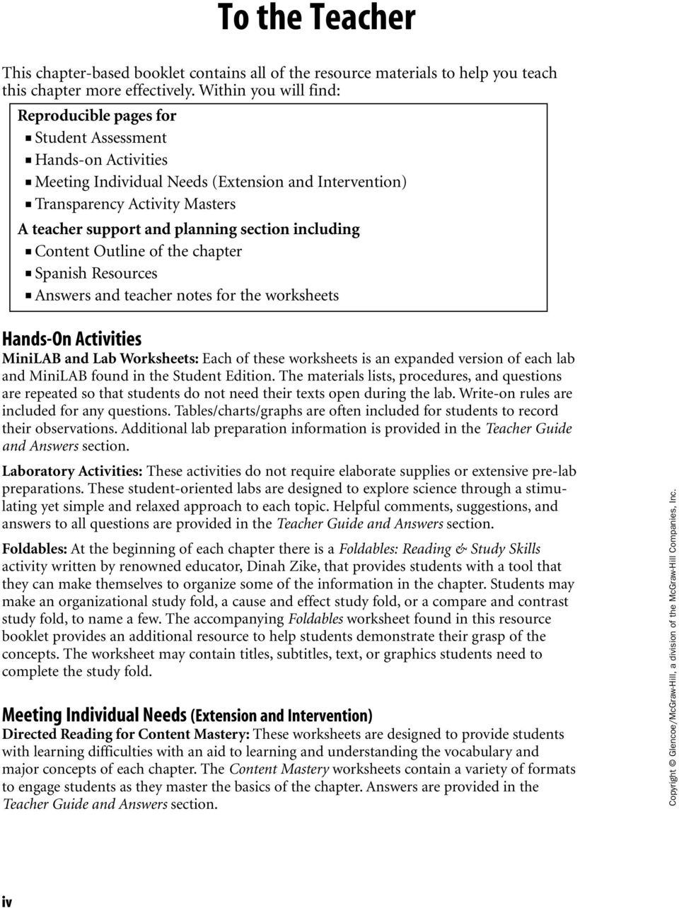 section including Content Outline of the chapter Spanish Resources Answers  and teacher notes for the worksheets