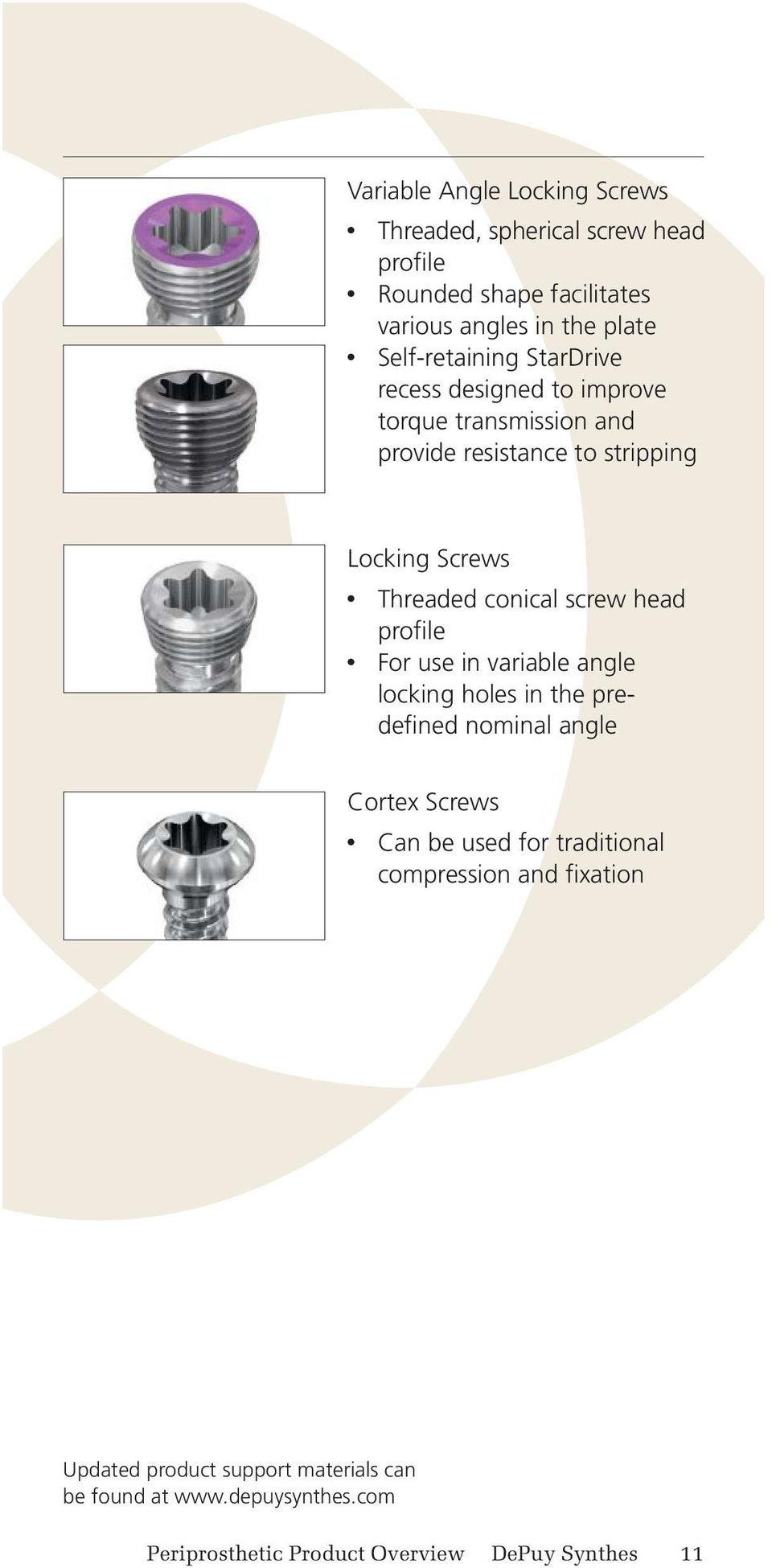 conical screw head profile For use in variable angle locking holes in the predefined nominal angle Cortex Screws Can be used for