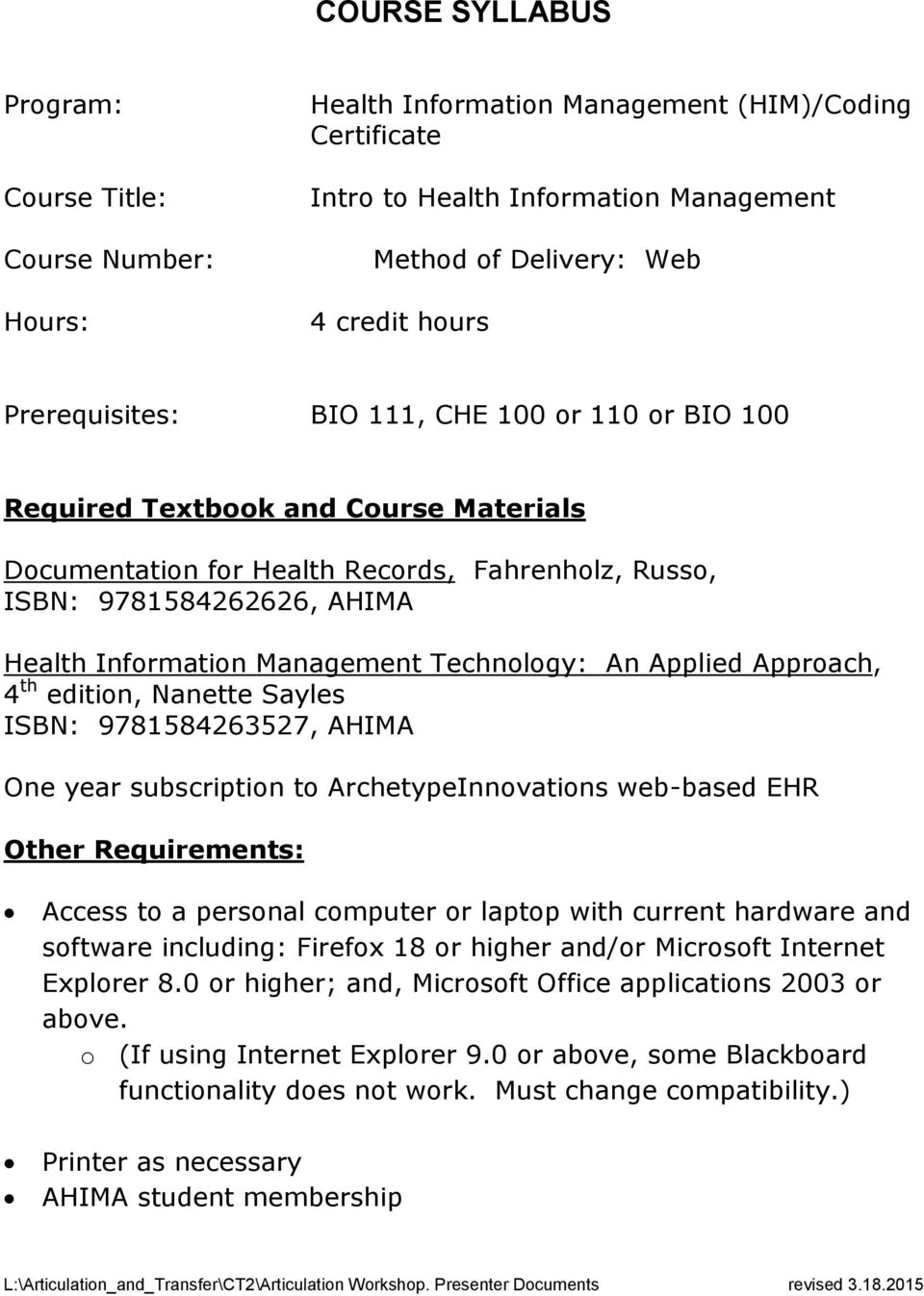 Course Syllabus Health Information Management Himcoding