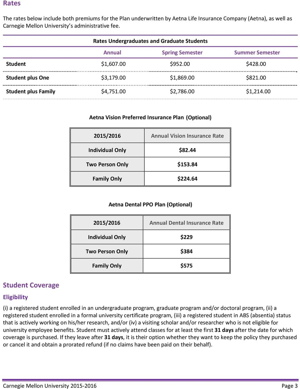 Aetna Student Health Plan Design and Benefits Summary Carnegie