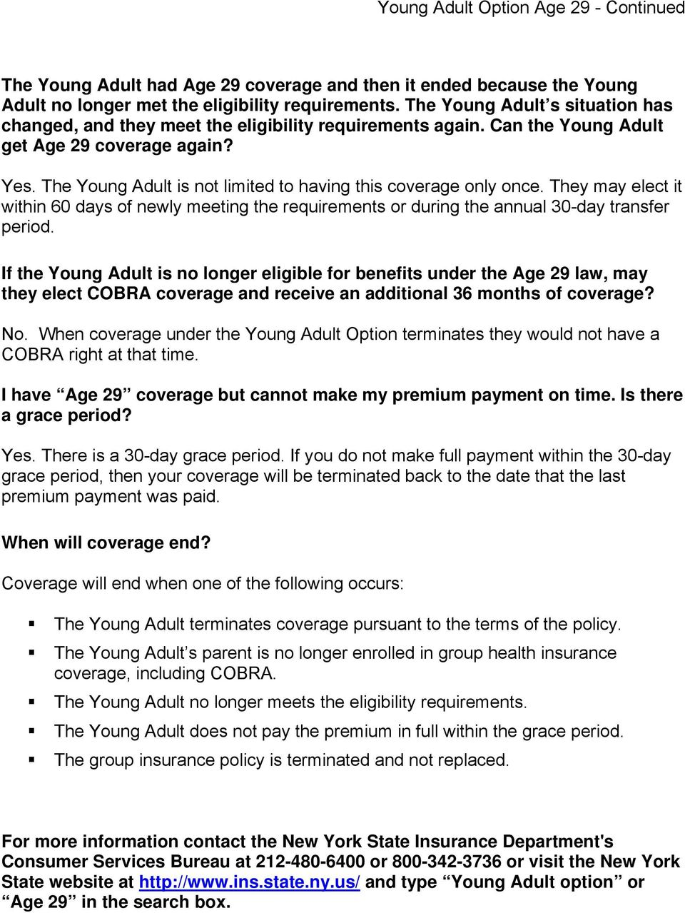 adults insurance young Nys coverage health