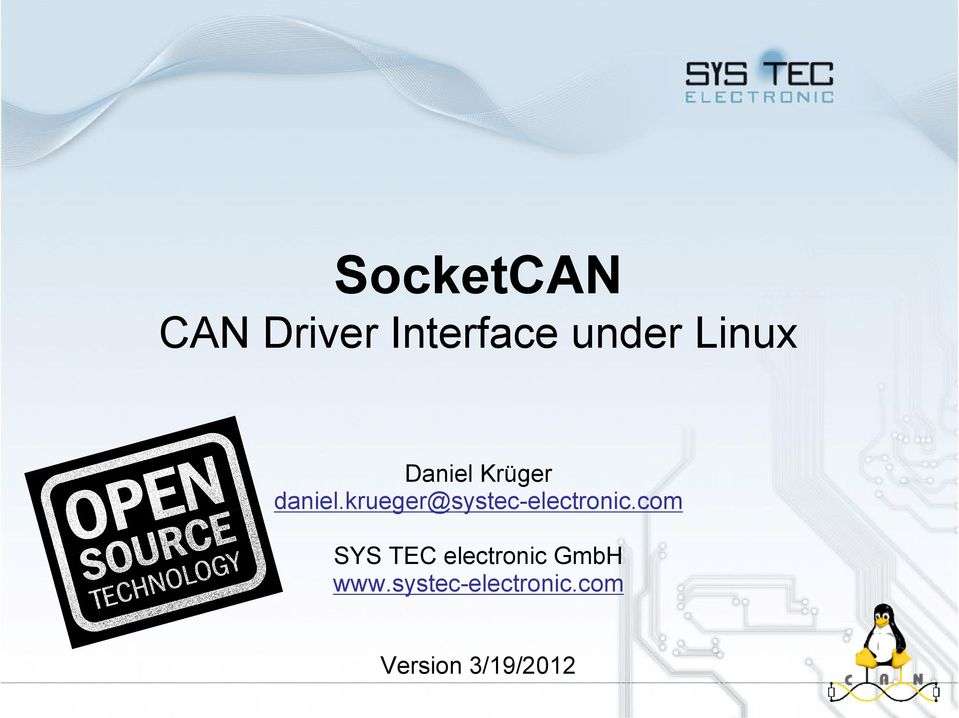 SocketCAN CAN Driver Interface under Linux - PDF