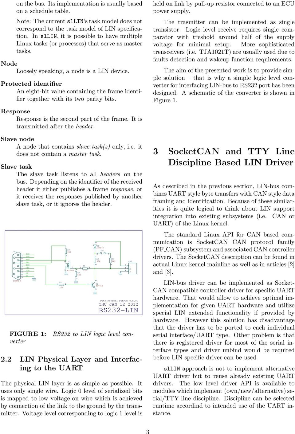 UART-based LIN-bus Support for Linux with SocketCAN