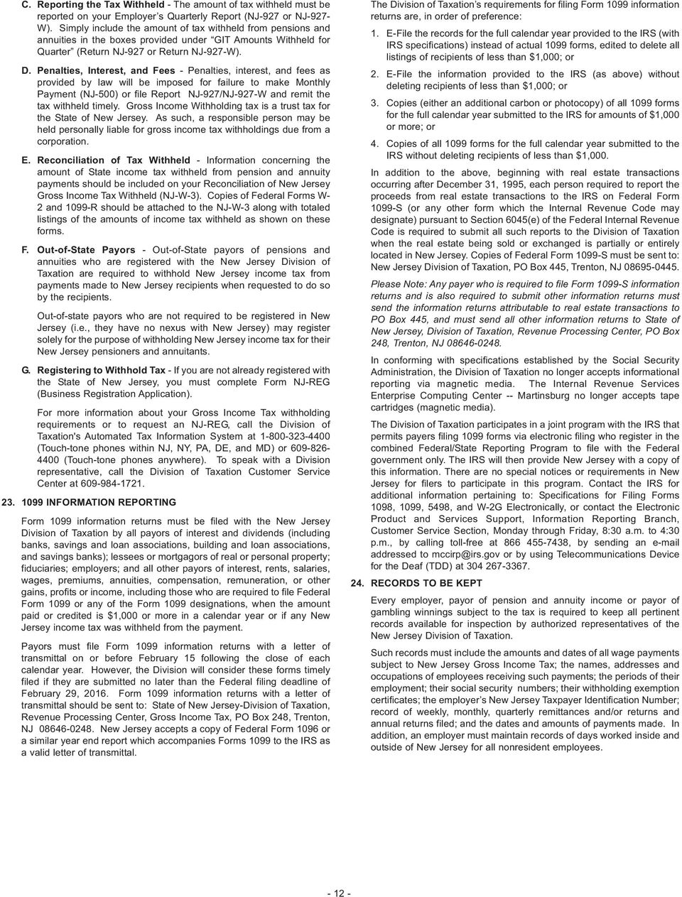 New Jersey Gross Income Tax Instruction Booklet Pdf