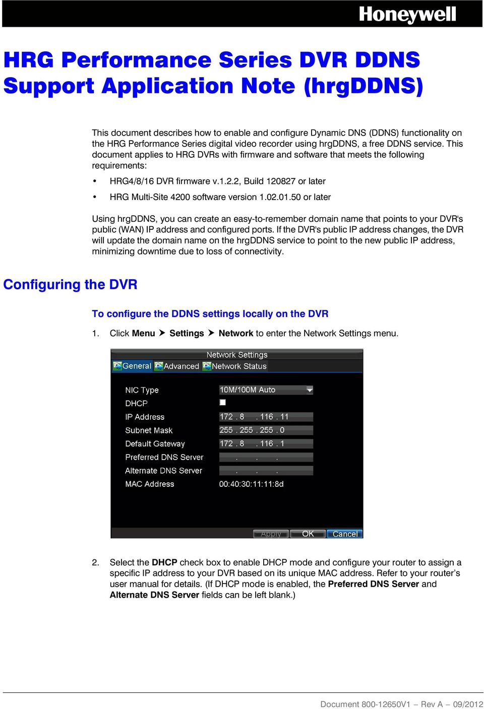 HRG Performance Series DVR DDNS Support Application Note (hrgddns) - PDF