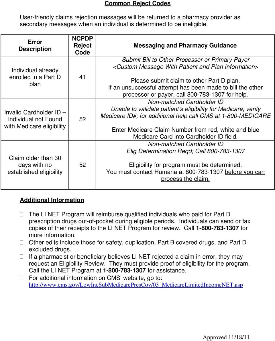 Reject Code 41 52 52 Messaging and Pharmacy Guidance Submit Bill to Other Processor or Primary Payer <Custom Message With Patient and Plan Information> Please submit claim to other Part D plan.