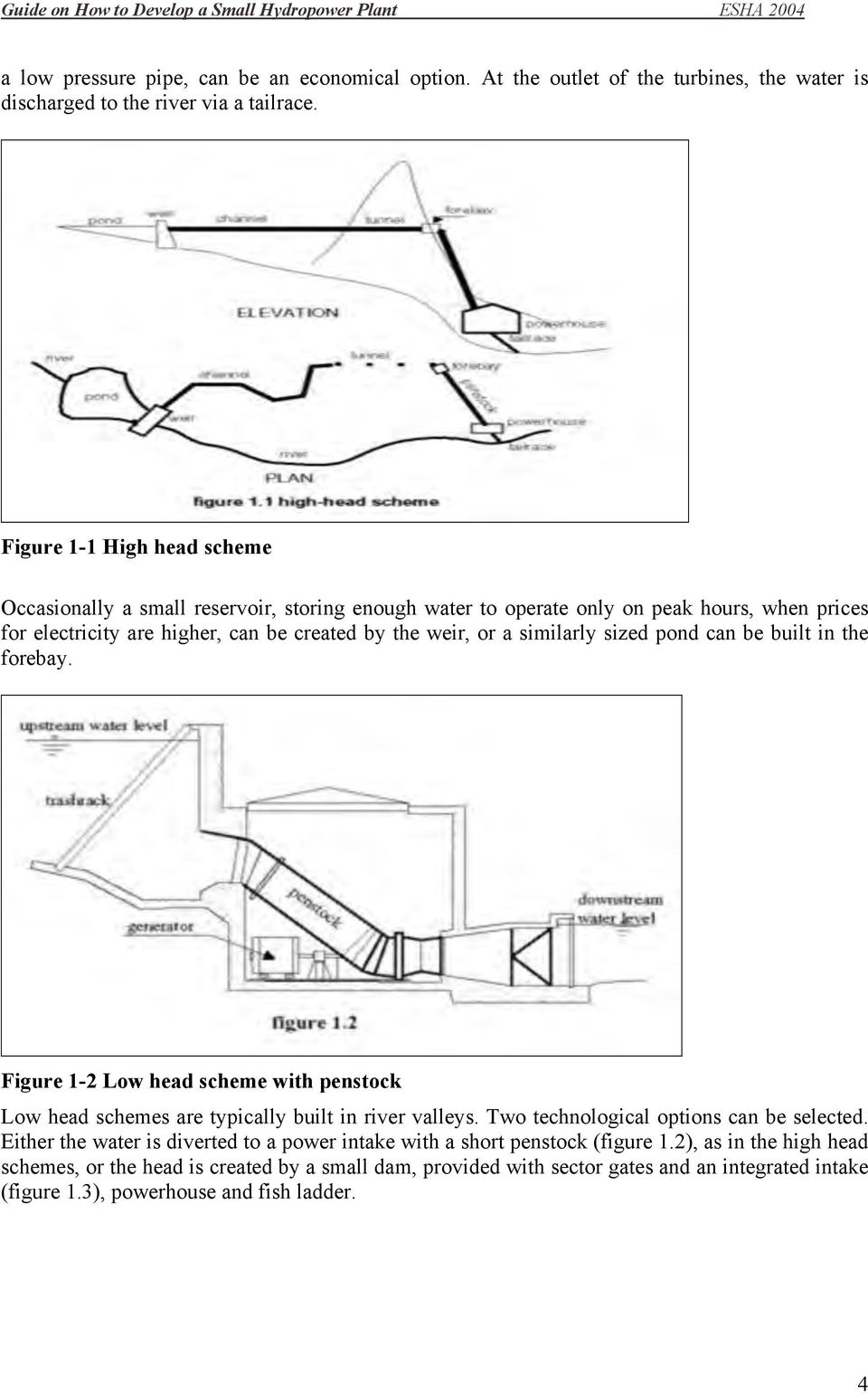 Guide On How To Develop A Small Hydropower Plant Pdf Hydro Power With Diagram Similarly Sized Pond Can Be Built In The Forebay Figure 1 2 Low Head