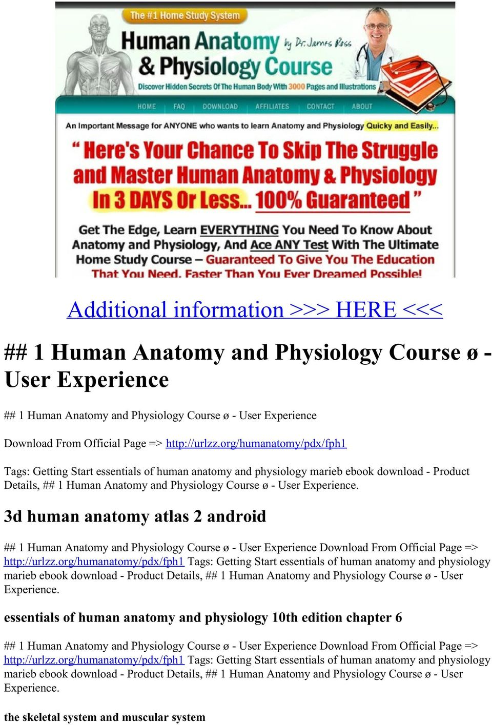 Additional information >>> HERE <<< ## 1 Human Anatomy and