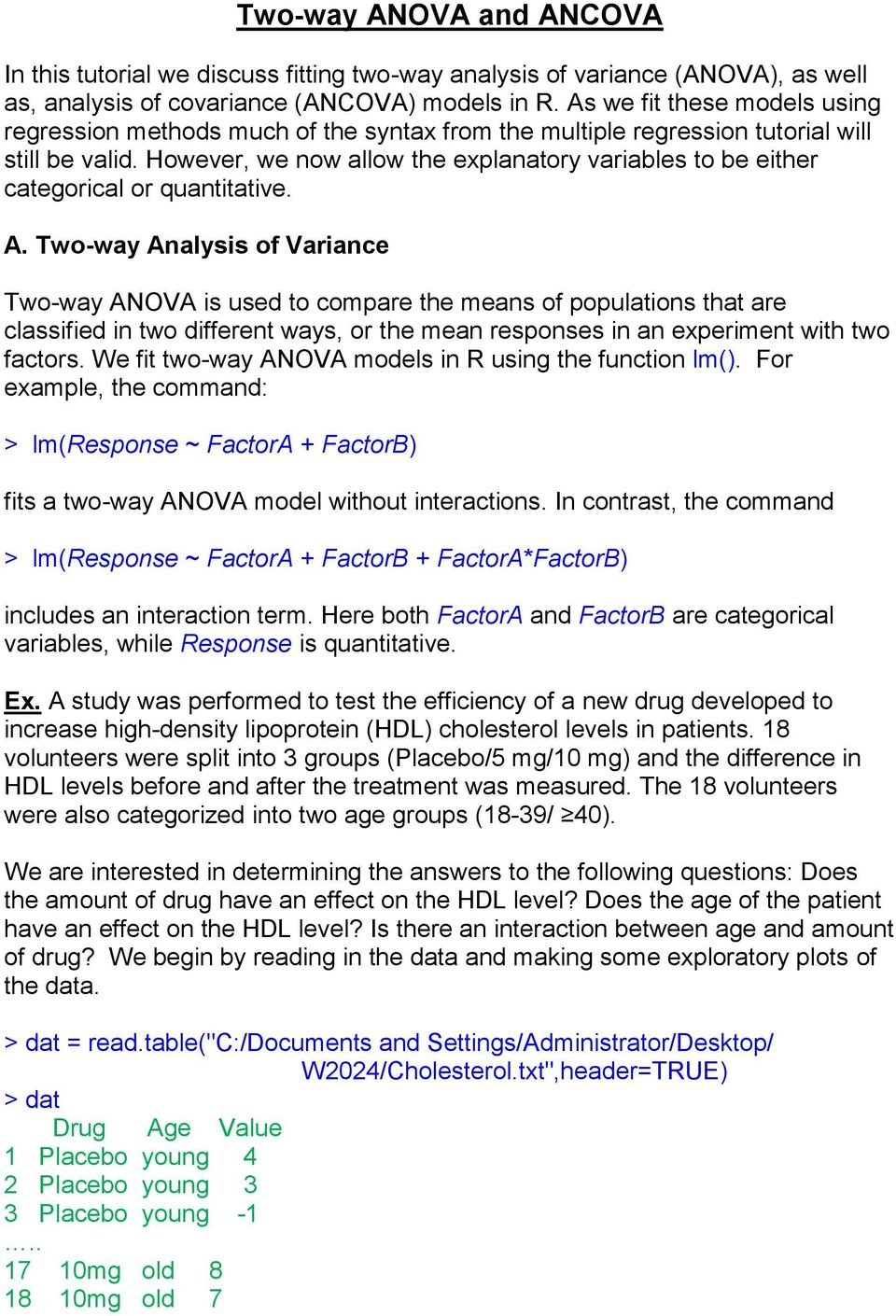 Two-way ANOVA and ANCOVA - PDF