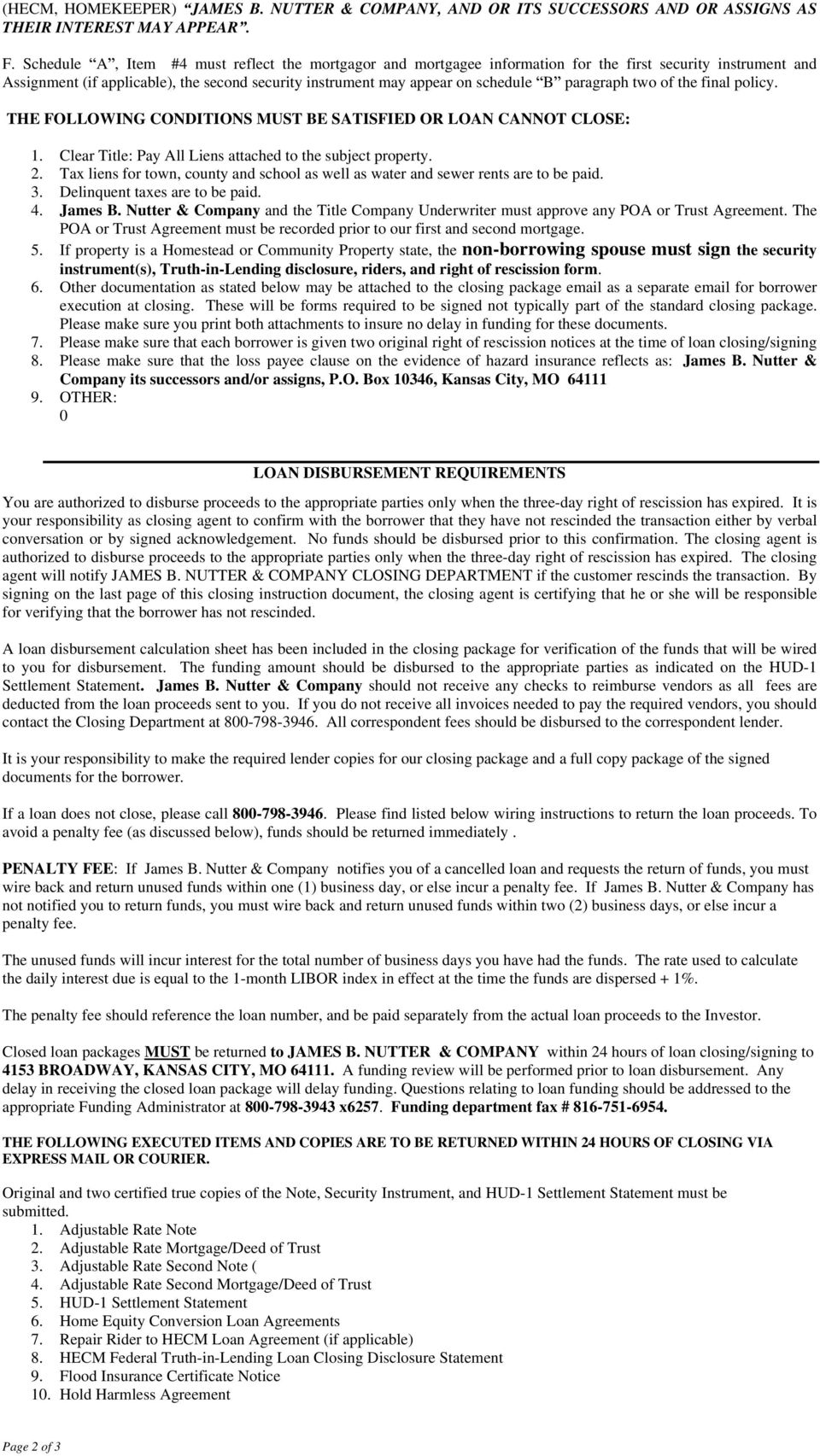 Lender S Closing Instructions Pdf Wiring Money At Paragraph Two Of The Final Policy Following Conditions Must Be Satisfied Or Loan Cannot