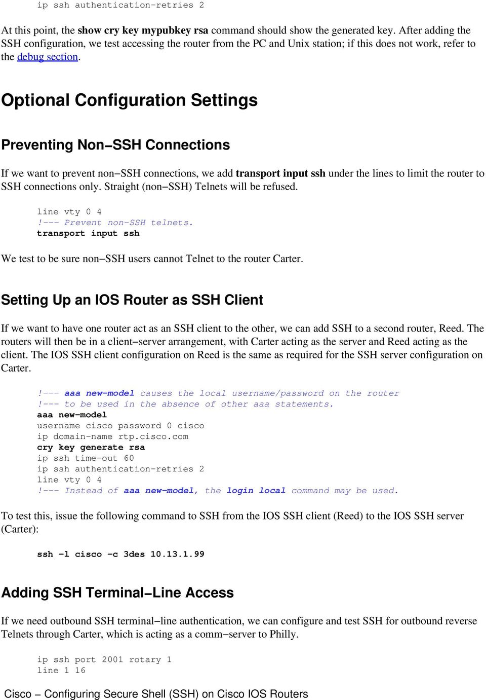 Cisco Configuring Secure Shell (SSH) on Cisco IOS Router - PDF