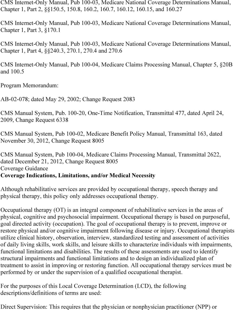 1 CMS Internet-Only Manual, Pub 100-03, Medicare National Coverage  Determinations