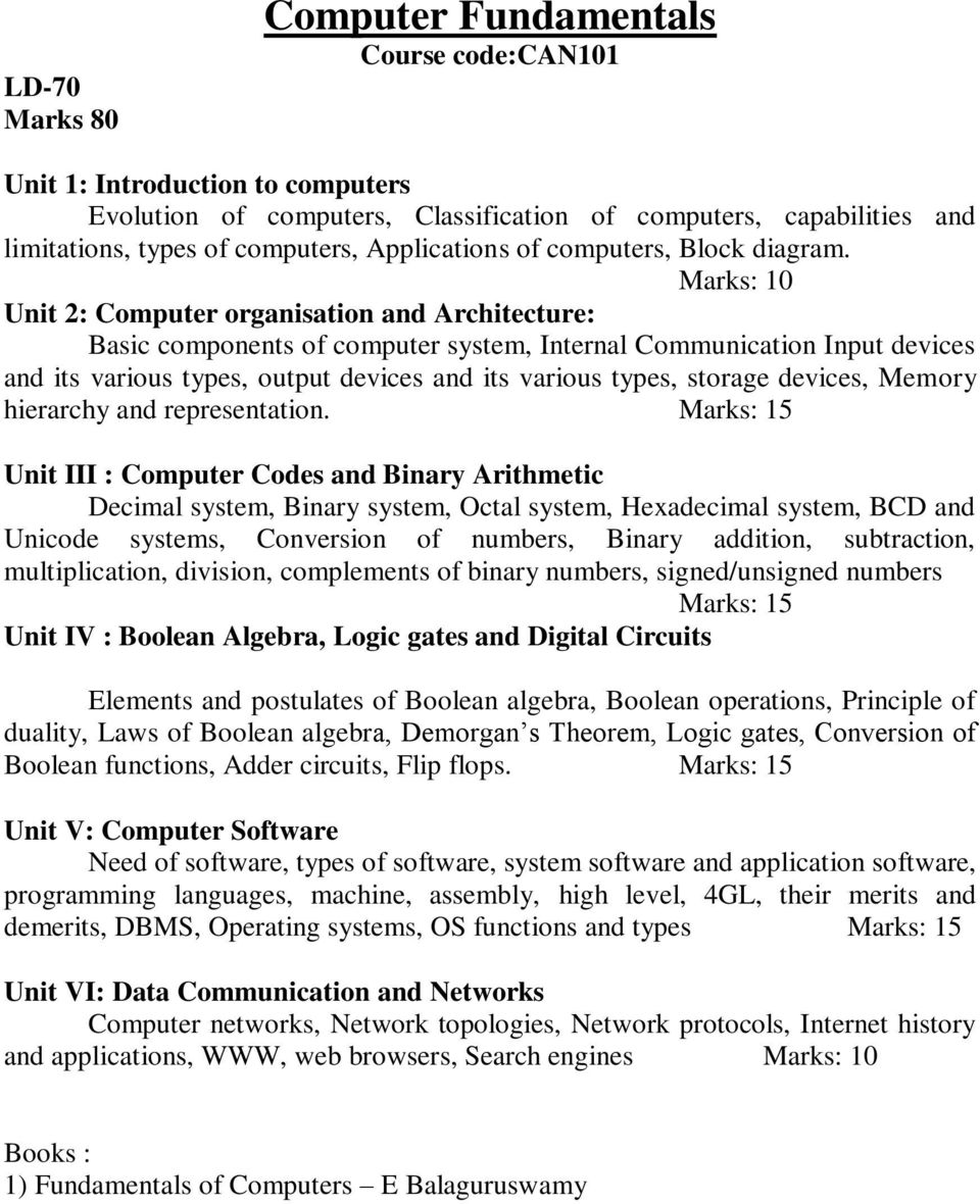Course Structure Of Three Year Degree Ba Programme In Computer Organization Systems Arithmetic Marks 10 Unit 2 Organisation And Architecture Basic Components System