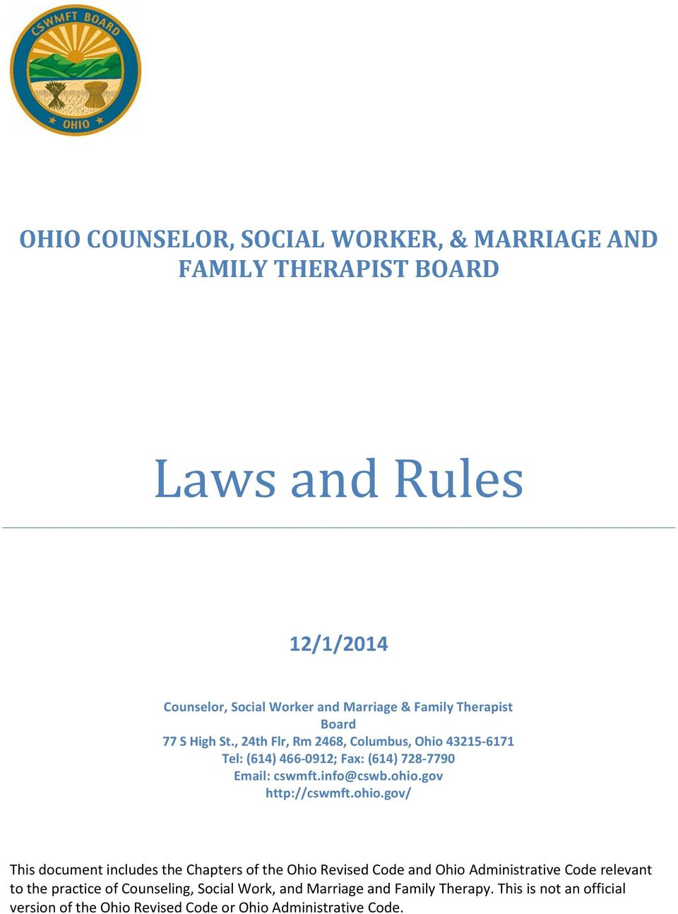 ohio counselor social worker and marriage and family